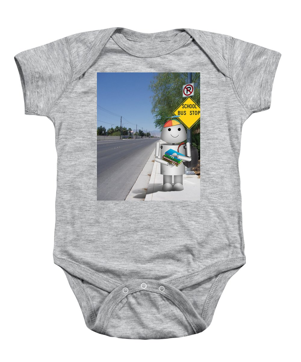 Back To School Baby Onesie featuring the digital art Back To School Little Robox9 by Gravityx9 Designs