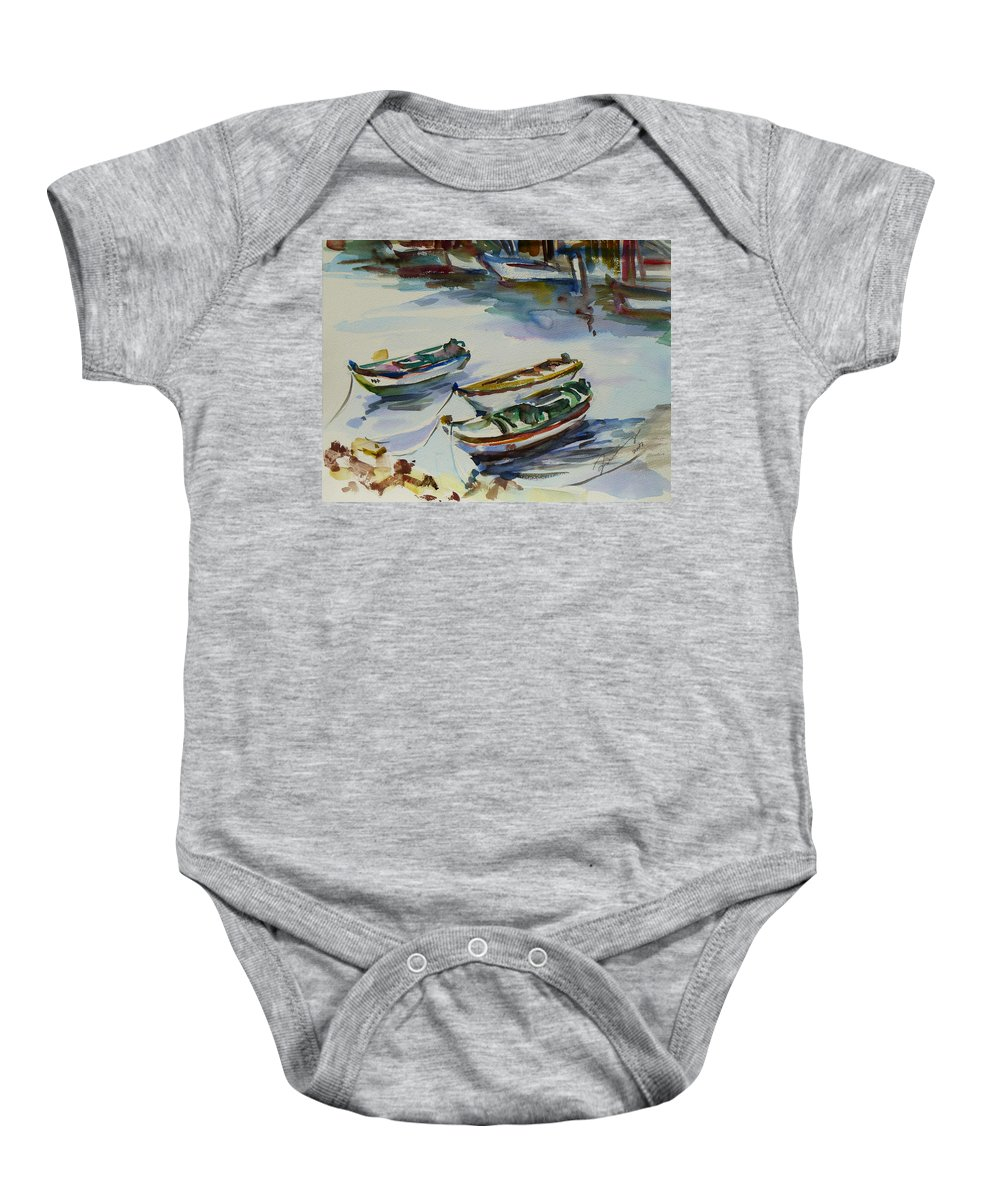 Landscape Baby Onesie featuring the painting 3 Boats I by Xueling Zou