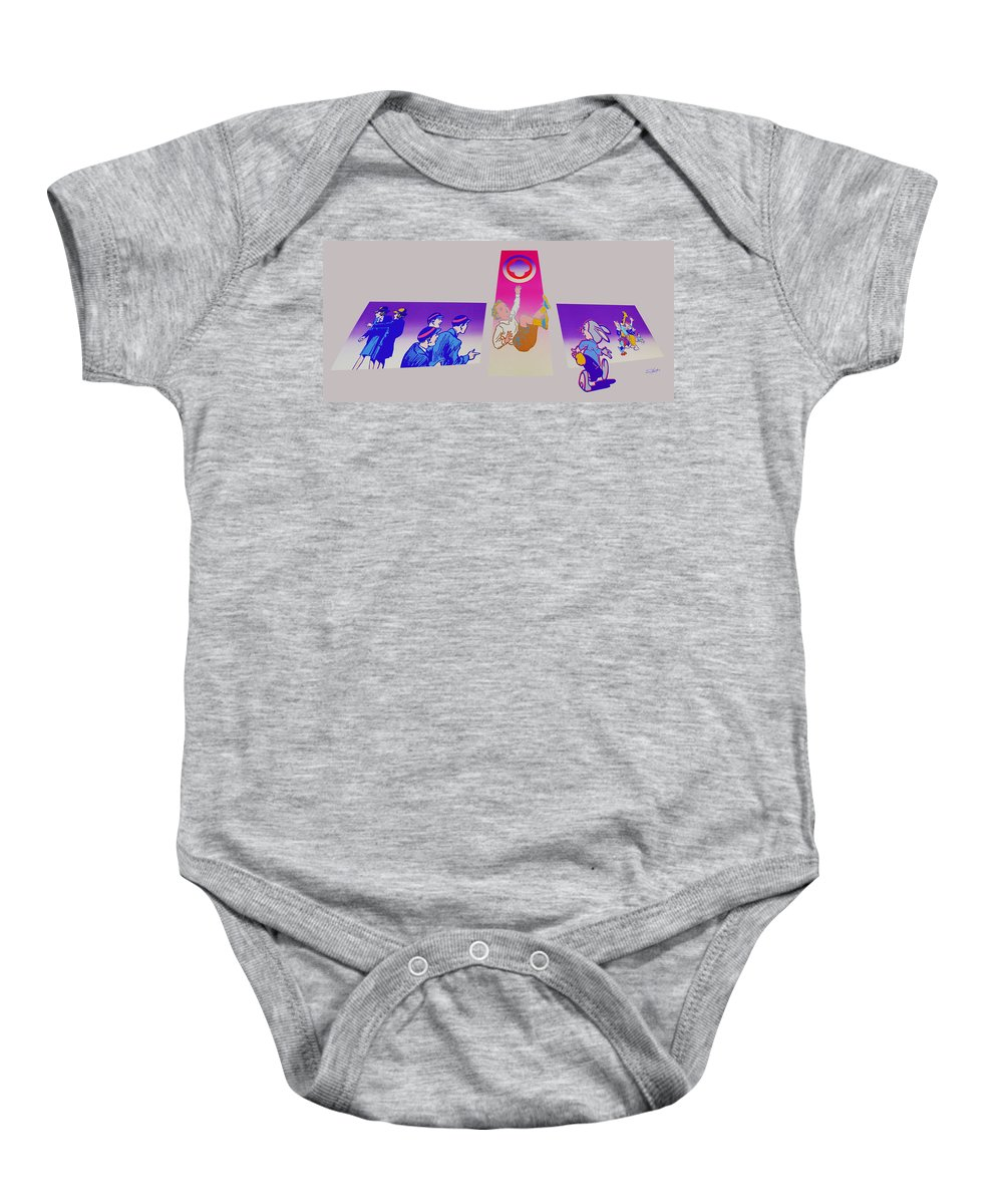 Woodstock Baby Onesie featuring the painting By The Time I Got To Woodstock by Charles Stuart