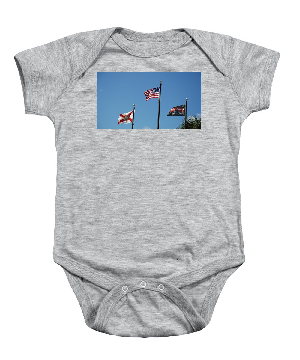 American Flag Baby Onesie featuring the photograph 3 Flags by Rob Hans