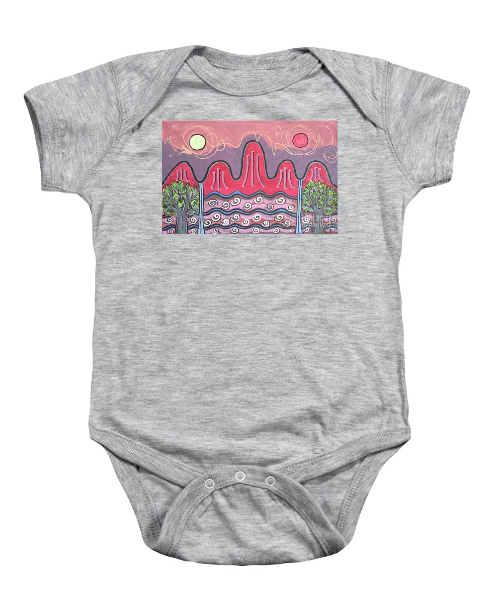 Sjkim Art Baby Onesie featuring the painting Ilwolobongdo Abstract Landscape Painting by Seon-jeong Kim