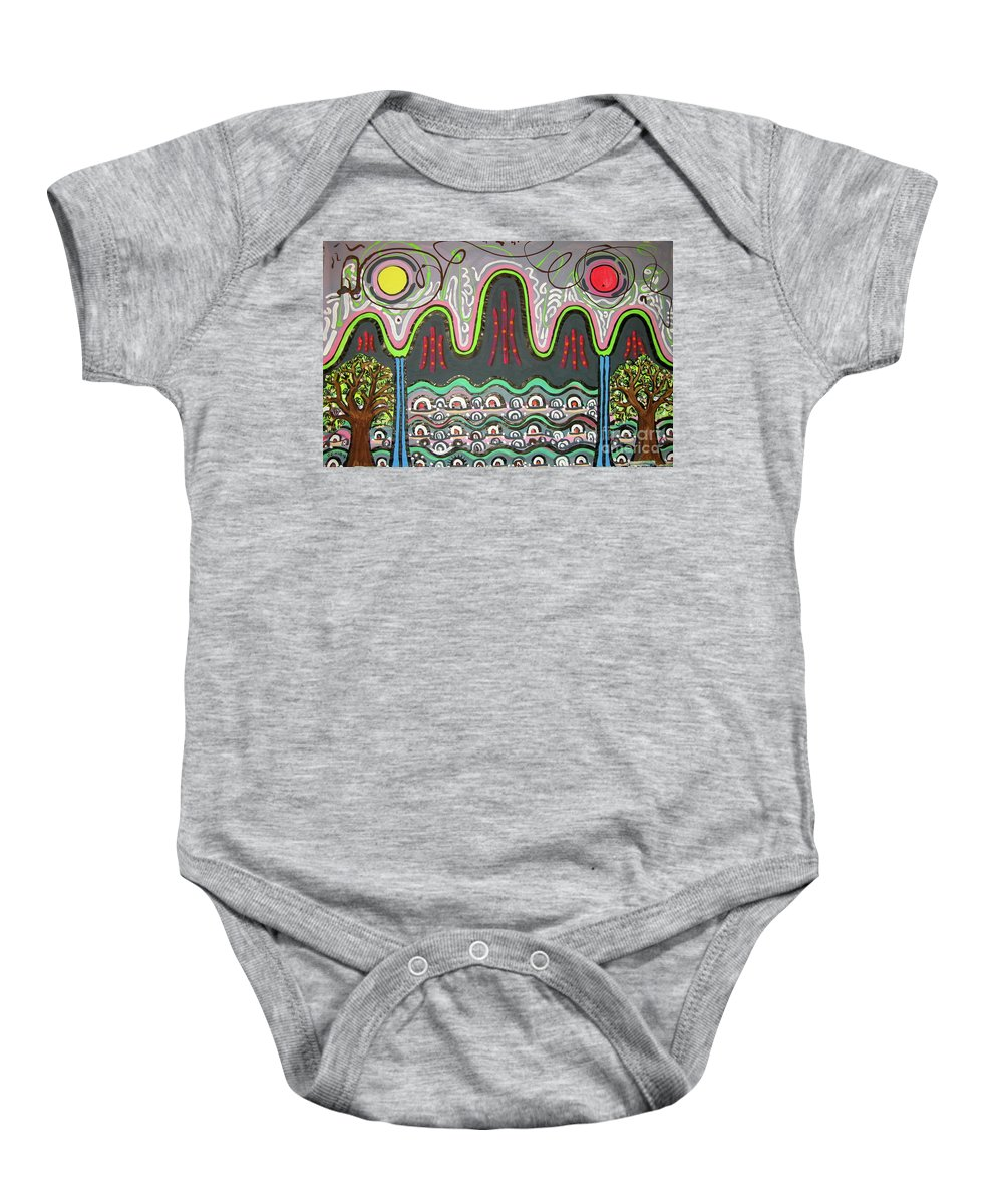Korean Art Baby Onesie featuring the painting Ilwolobongdo Abstract Landscape Painting2 by Seon-jeong Kim