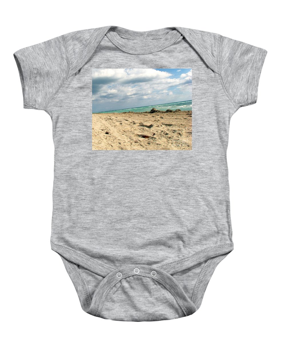 Miami Baby Onesie featuring the photograph Miami Beach by Amanda Barcon