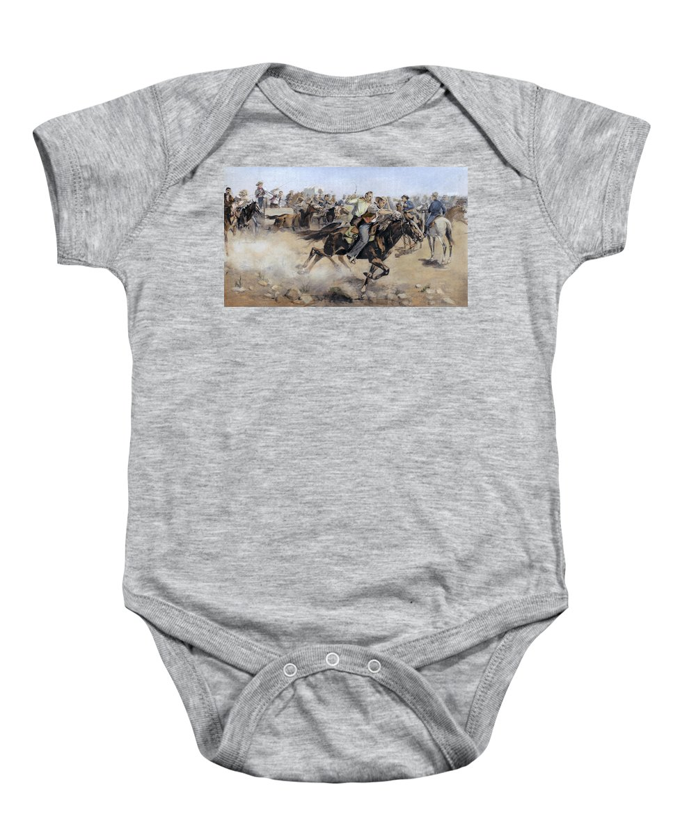 1890 Baby Onesie featuring the photograph Oklahoma Land Rush, 1889 by Granger