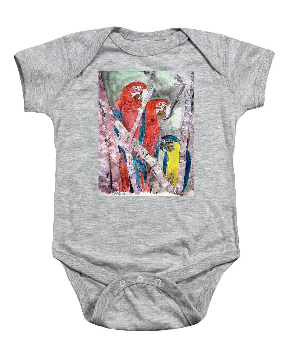 Bird Baby Onesie featuring the painting 3 Parrots by Derek Mccrea