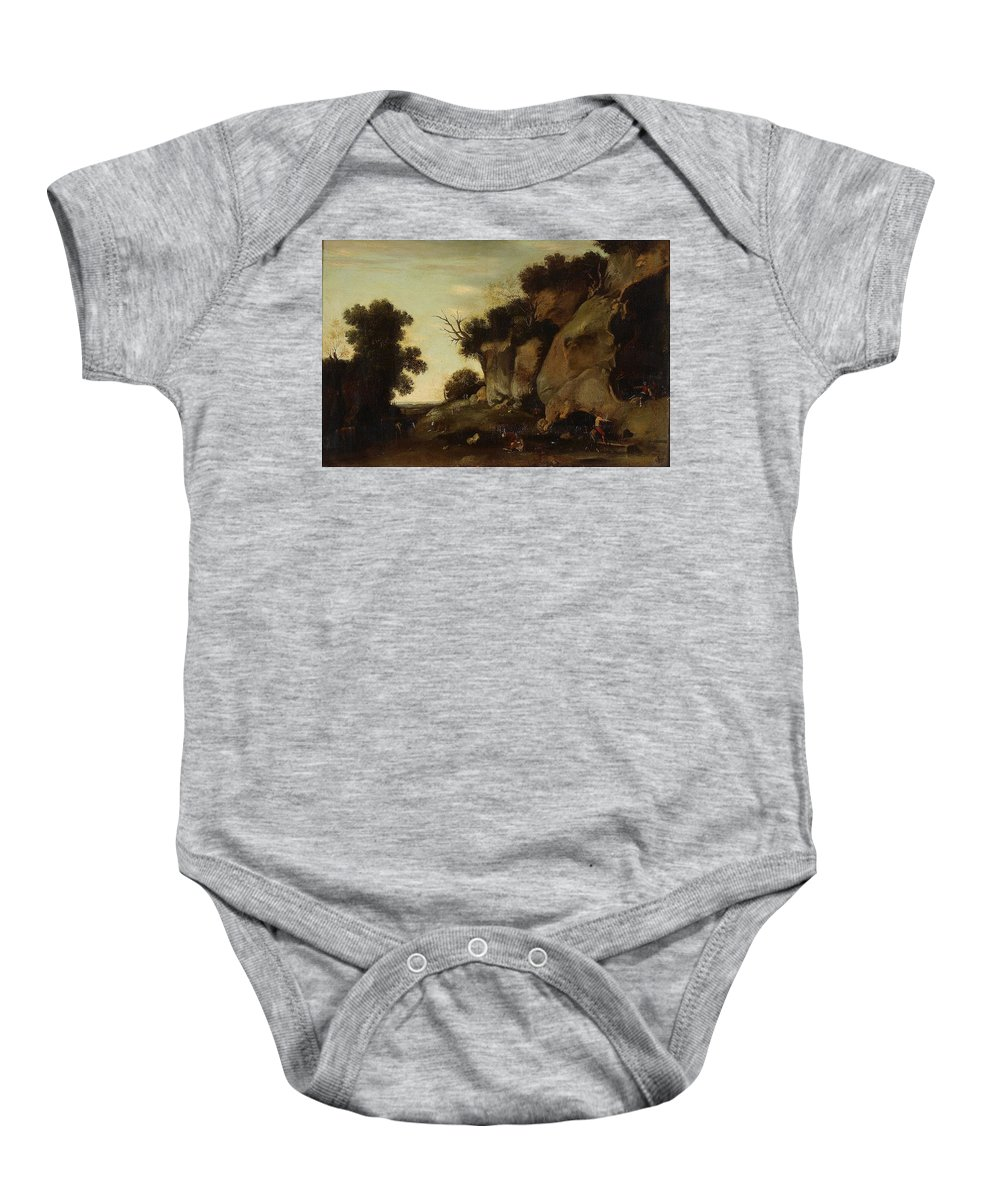 Filippo Napoletano Italy Baby Onesie featuring the painting Pastoral Scene At The Cave by MotionAge Designs