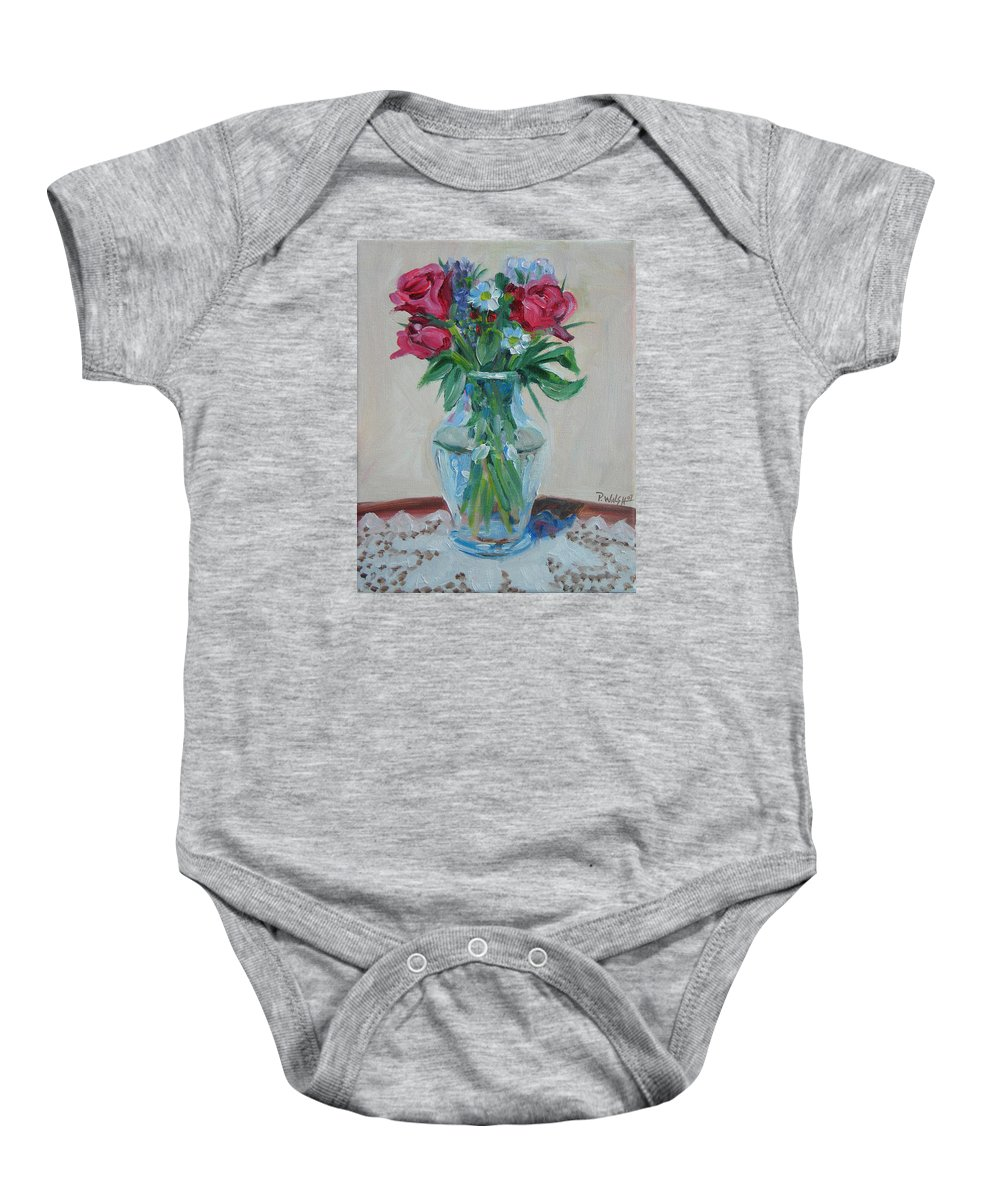 Roses Baby Onesie featuring the painting 3 Roses by Paul Walsh