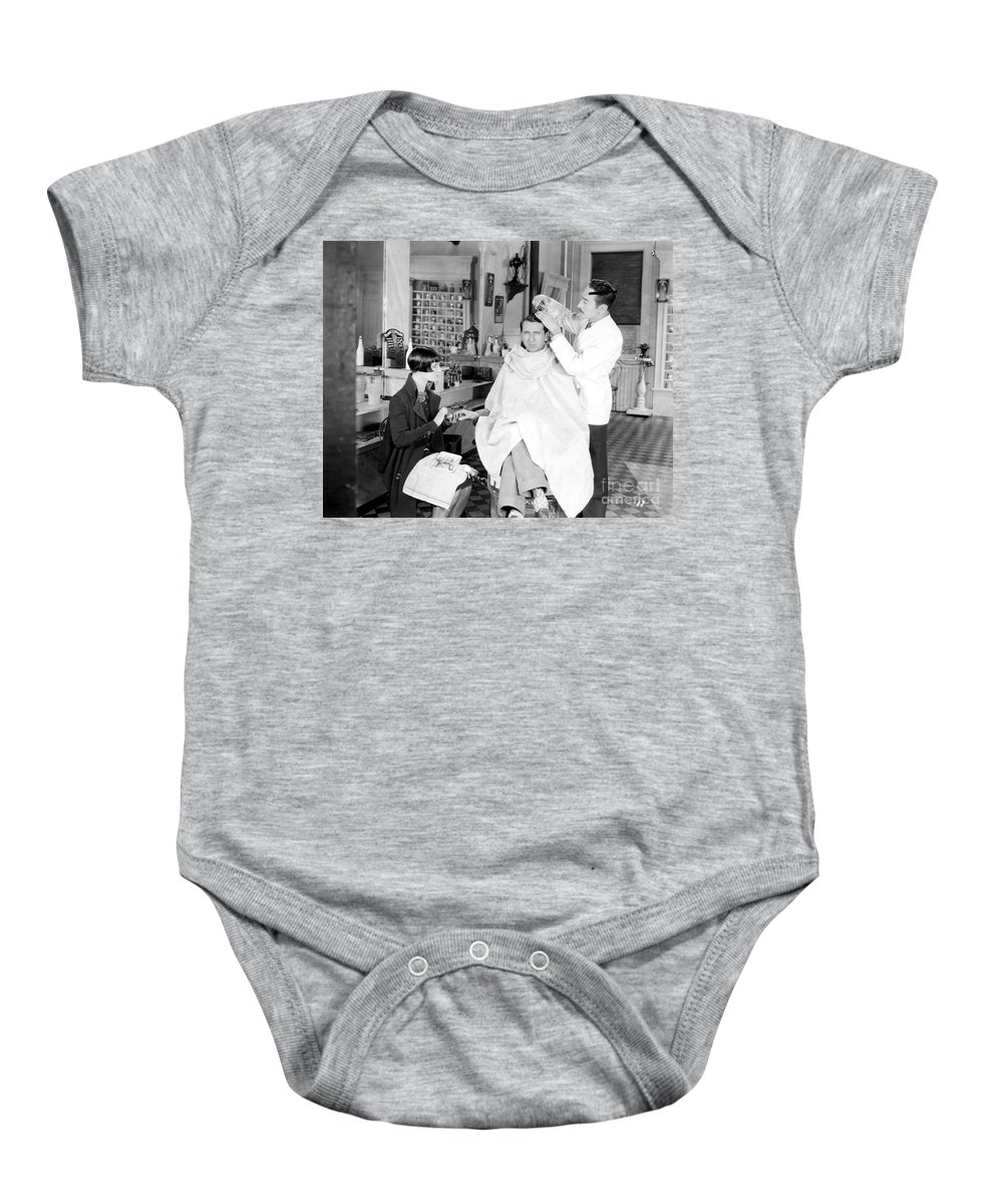 -barbers & Beatuy Salons- Baby Onesie featuring the photograph Silent Still: Barber Shop by Granger