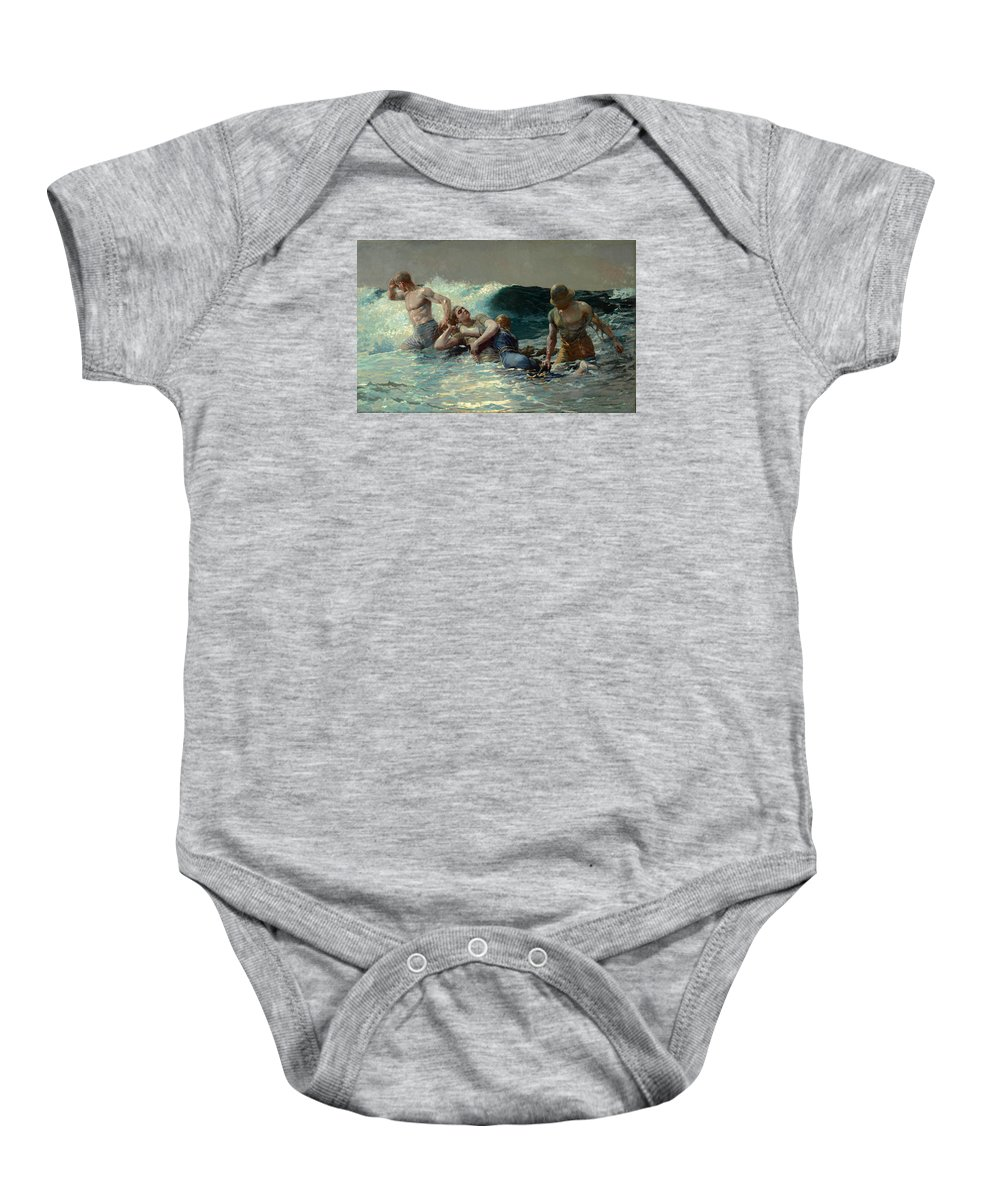 Winslow Homer Baby Onesie featuring the painting Undertow 3 by Winslow Homer