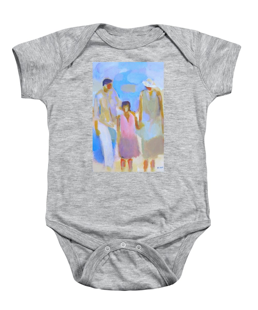 Abstract Baby Onesie featuring the painting 3 With Love by Habib Ayat