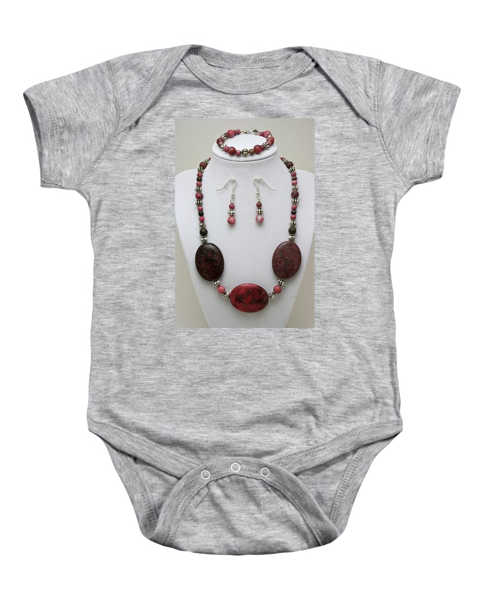 Handmade Baby Onesie featuring the jewelry 3544 Rhodonite Necklace Bracelet And Earring Set by Teresa Mucha