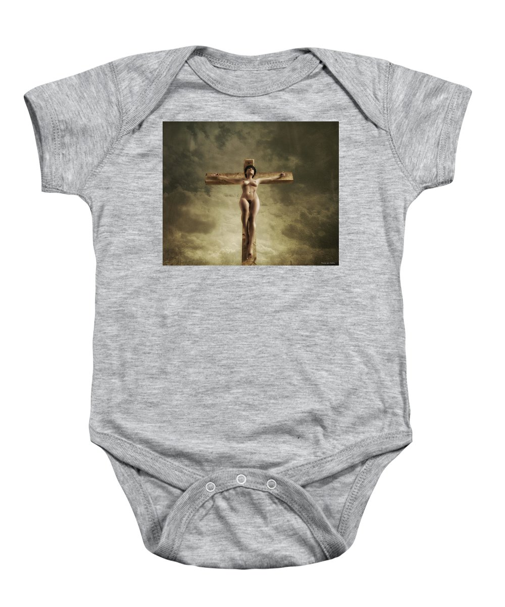 Crucifix Baby Onesie featuring the digital art 3d Sky Crucifix by Ramon Martinez