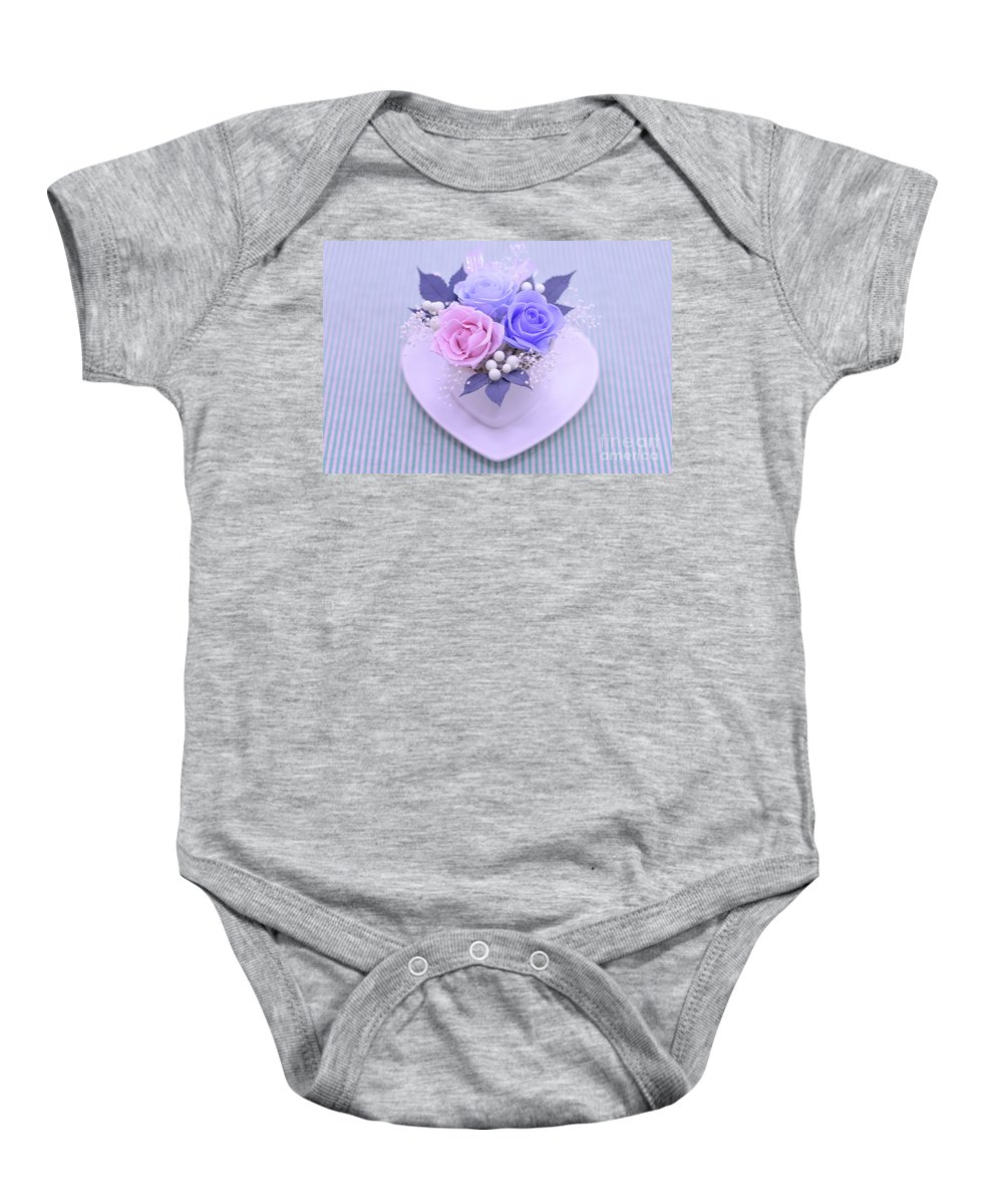 Valentine Baby Onesie featuring the photograph A Gift Of Preservrd Flower And Clay Flower Arrangement, Blue And by Eiko Tsuchiya