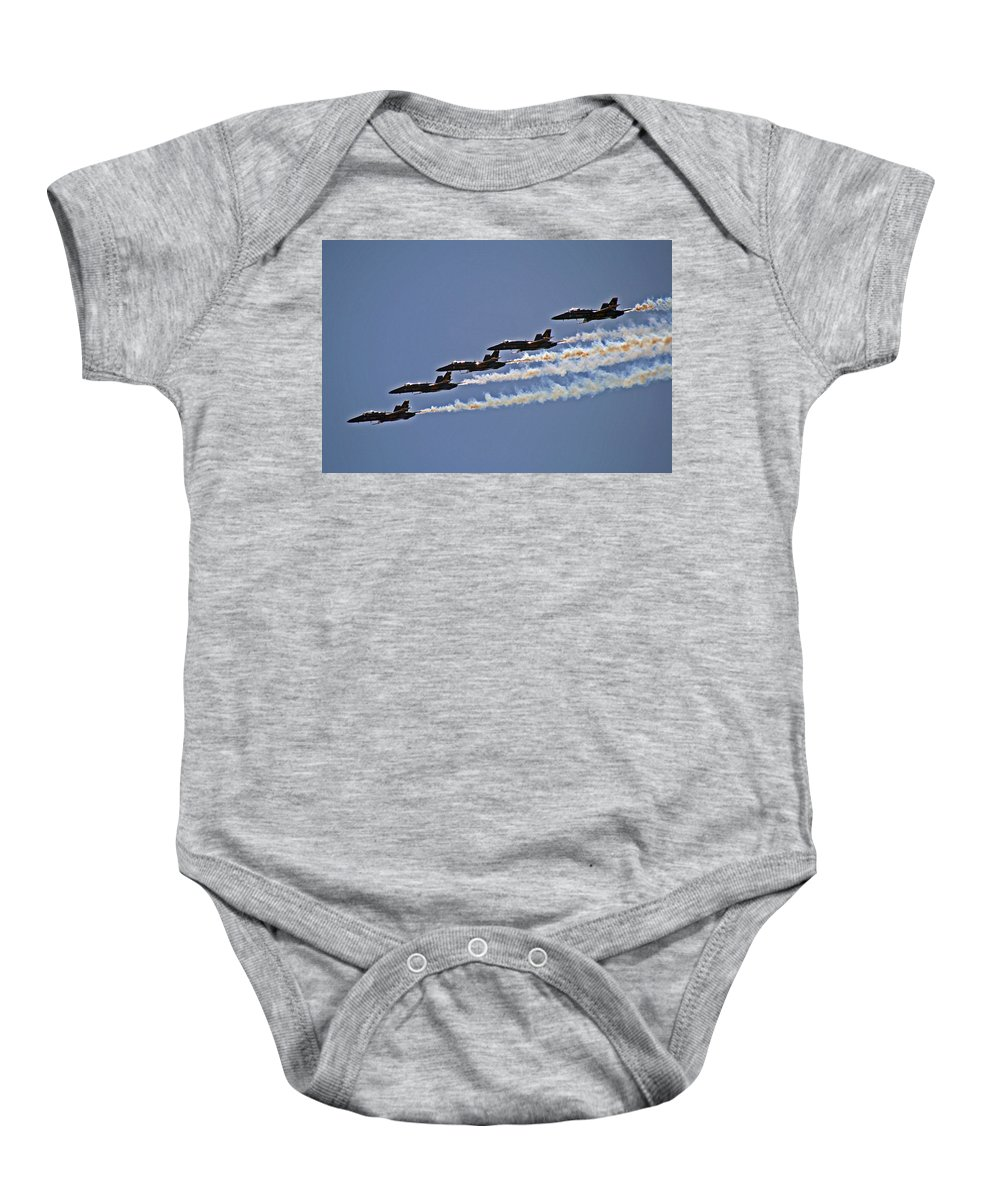 Blue Angels Baby Onesie featuring the photograph Blue Angels by David Campbell
