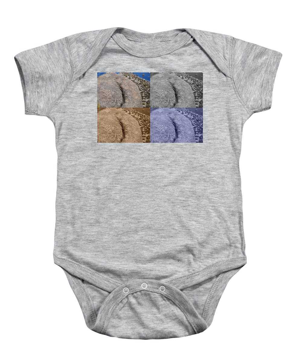 Sepia Baby Onesie featuring the photograph 4 Crack Rocks New Mexico by Rob Hans