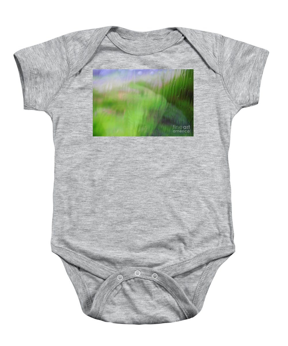 Green Baby Onesie featuring the photograph Green Landscape Abstract by Vladi Alon