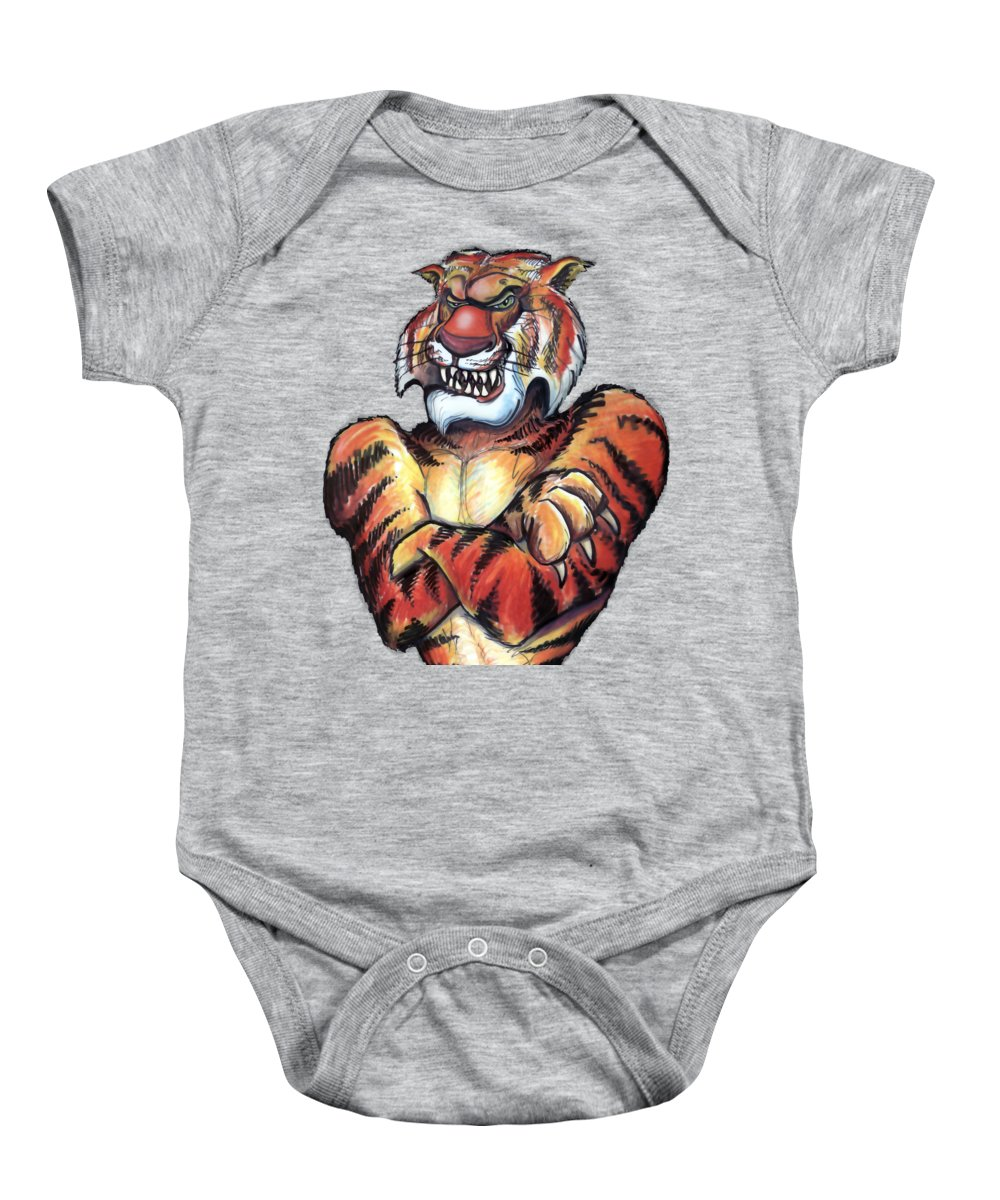 Tiger Baby Onesie featuring the painting Tiger by Kevin Middleton