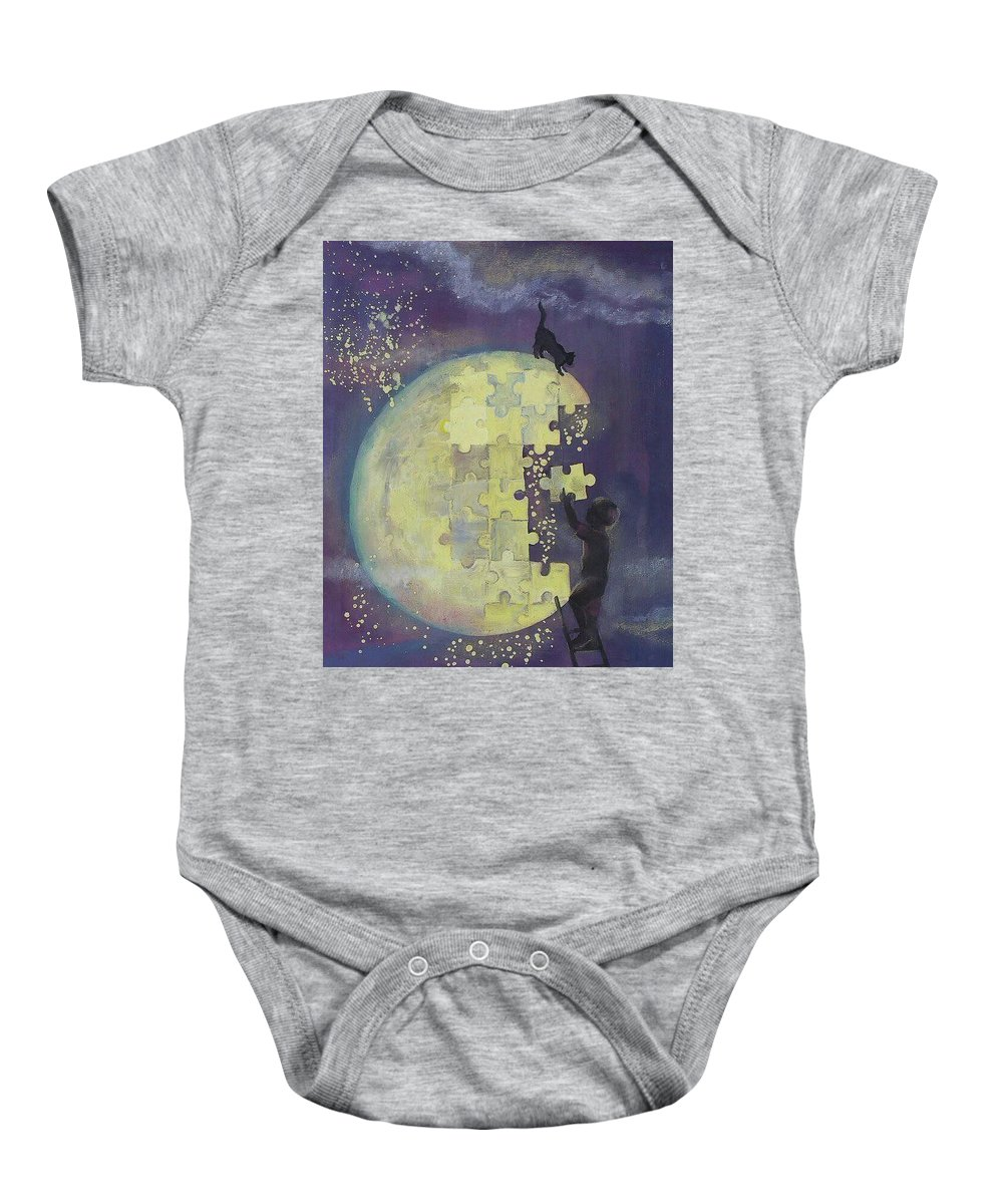 Baby Onesie featuring the mixed media Walk To The Moon by Gergana Bojikova