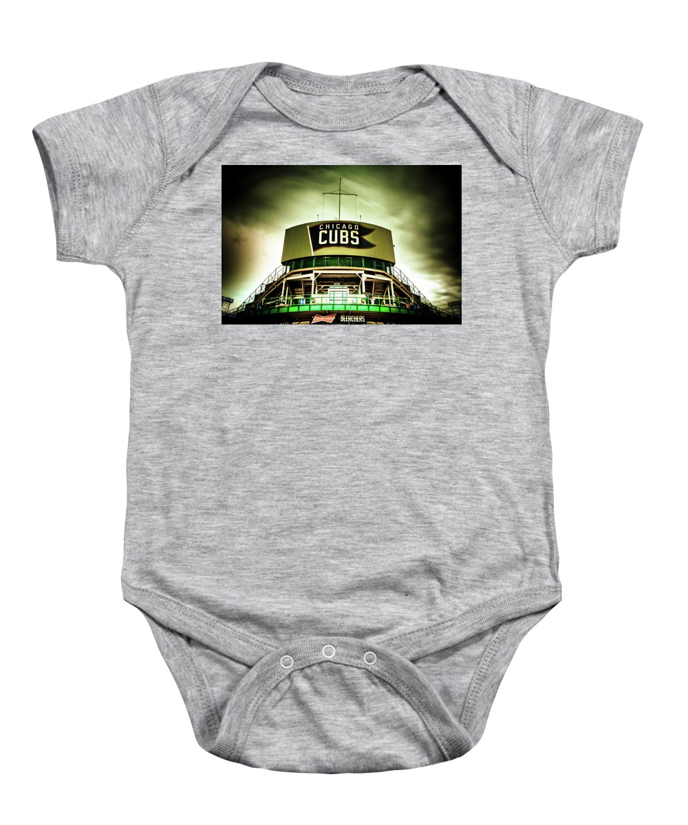 Chicago Baby Onesie featuring the photograph Wrigley Field Bleachers by Anthony Doudt