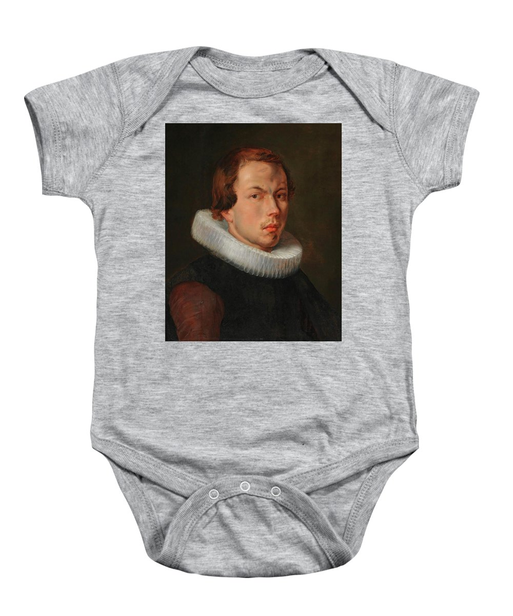 Flemish School Baby Onesie featuring the painting Portrait Of A Man by MotionAge Designs