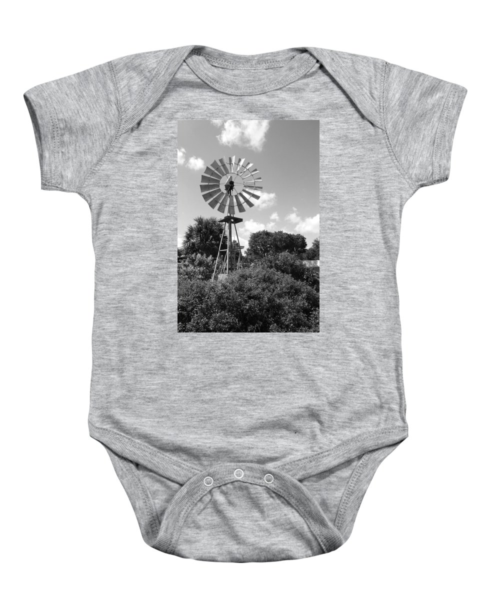 Black And White Baby Onesie featuring the photograph Aermotor Windmill by Rob Hans