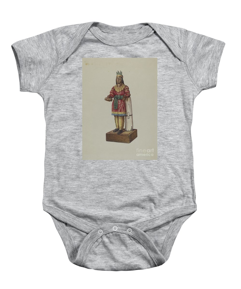Baby Onesie featuring the drawing Cigar Store Indian by American 20th Century