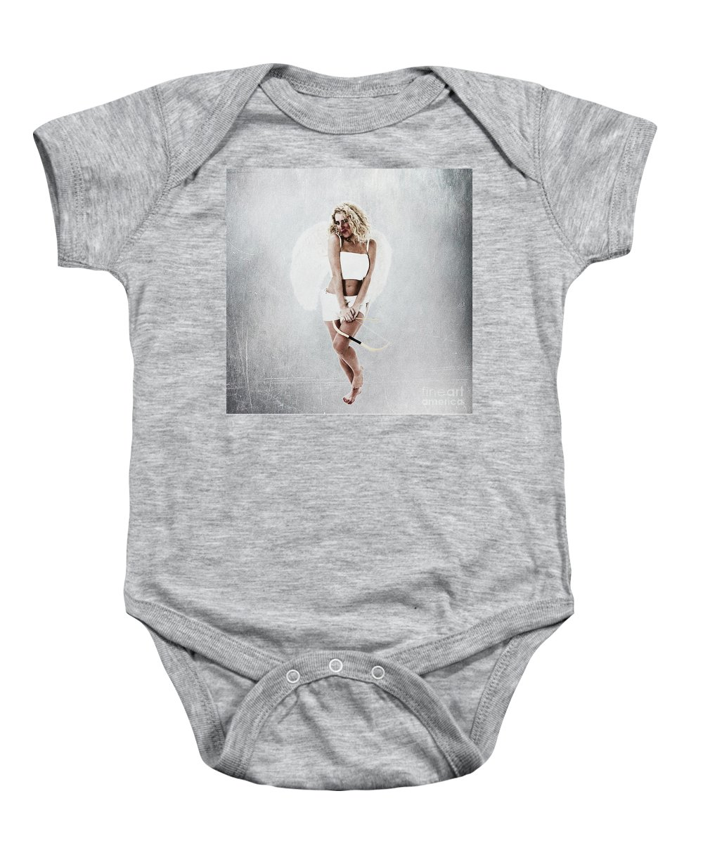 Innocence Baby Onesie featuring the photograph Cupid The God Of Desire by Humorous Quotes
