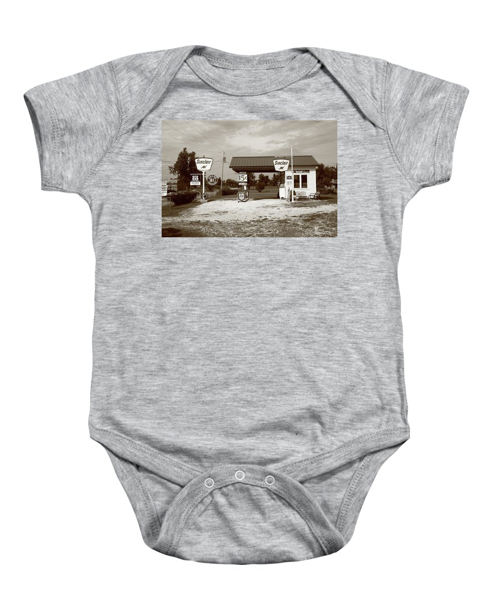 66 Baby Onesie featuring the photograph Route 66 Sinclair Station by Frank Romeo