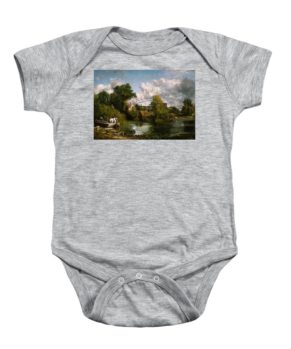 The White Horse The White Horse By John Constable Baby Onesie featuring the painting The White Horse by John Constable