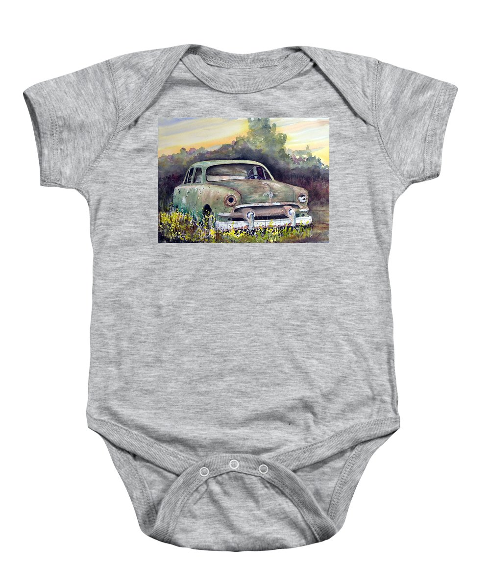 Car Baby Onesie featuring the painting 51 Ford by Sam Sidders