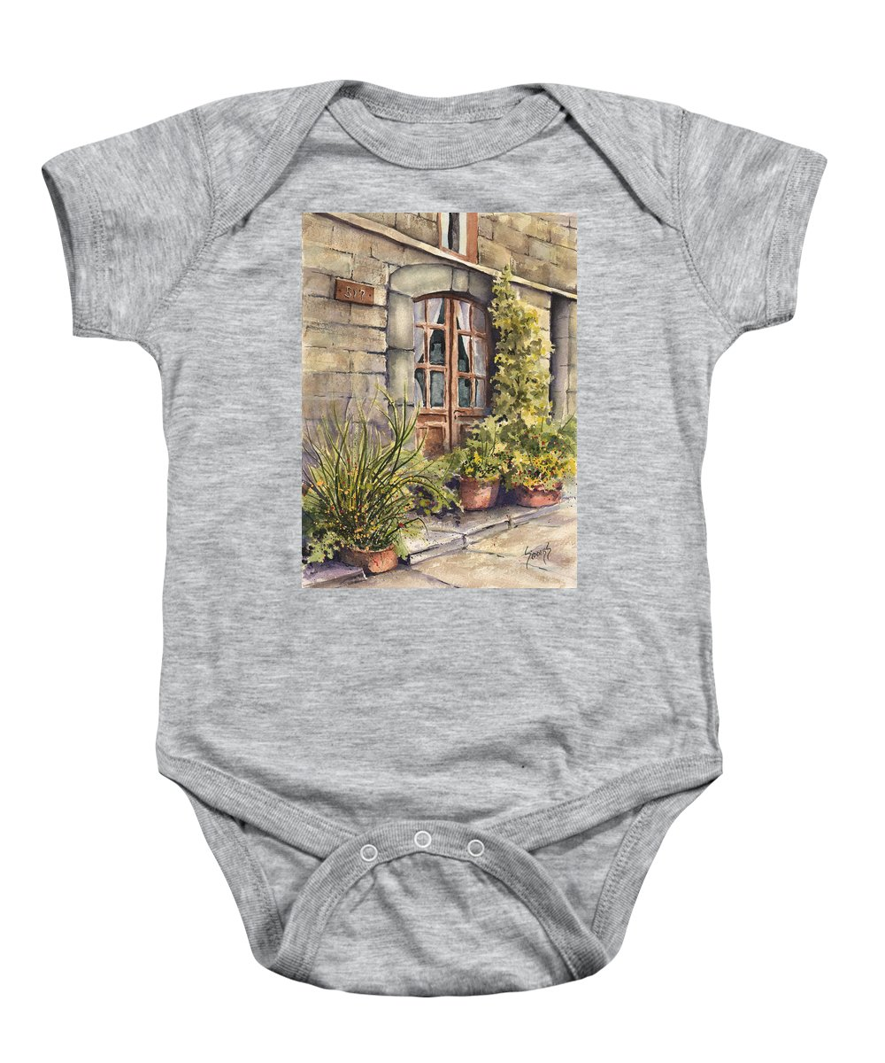 Door Baby Onesie featuring the painting 517 by Sam Sidders