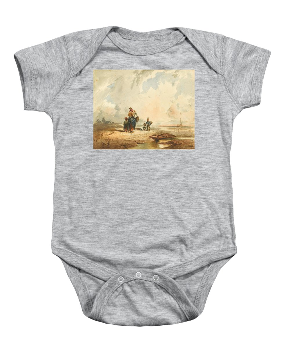 Carlo Bossoli (davesco 1815 - Turin 1884) Baby Onesie featuring the painting Coste Della Crimee by Carlo Bossoli