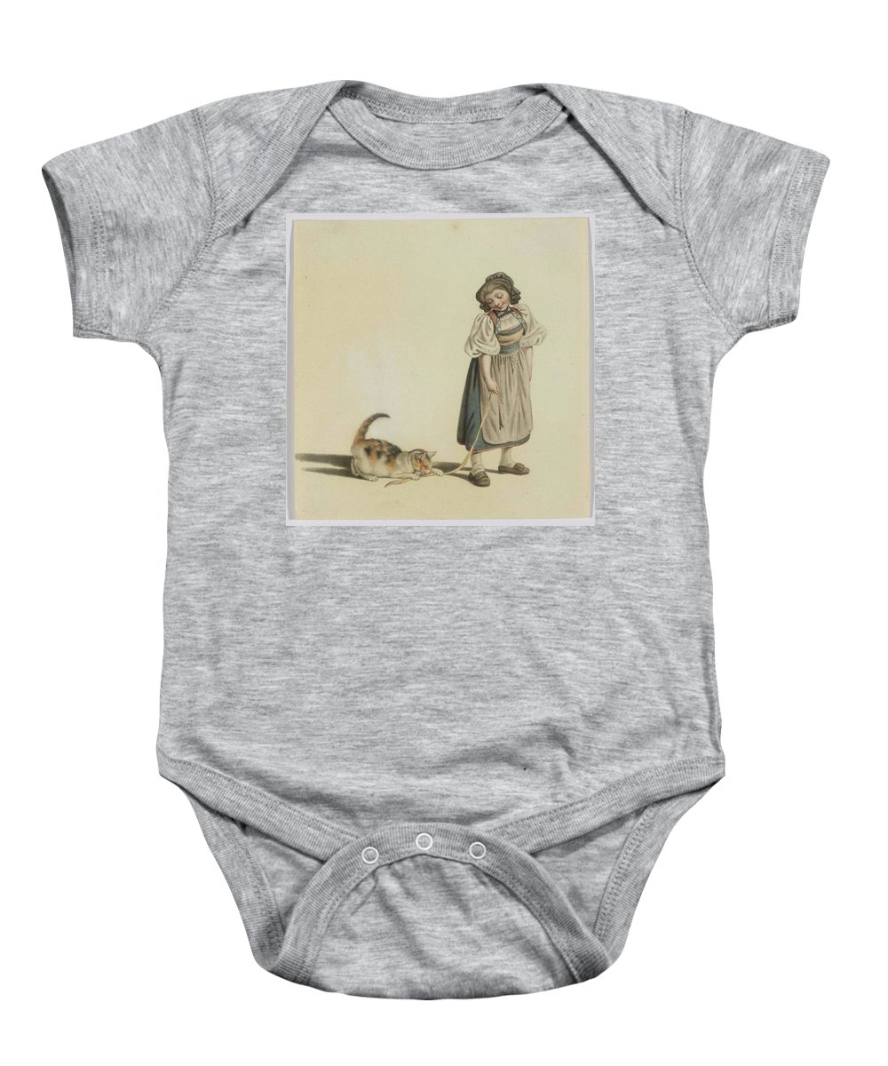 Mind Baby Onesie featuring the painting Girl With Cat by MotionAge Designs