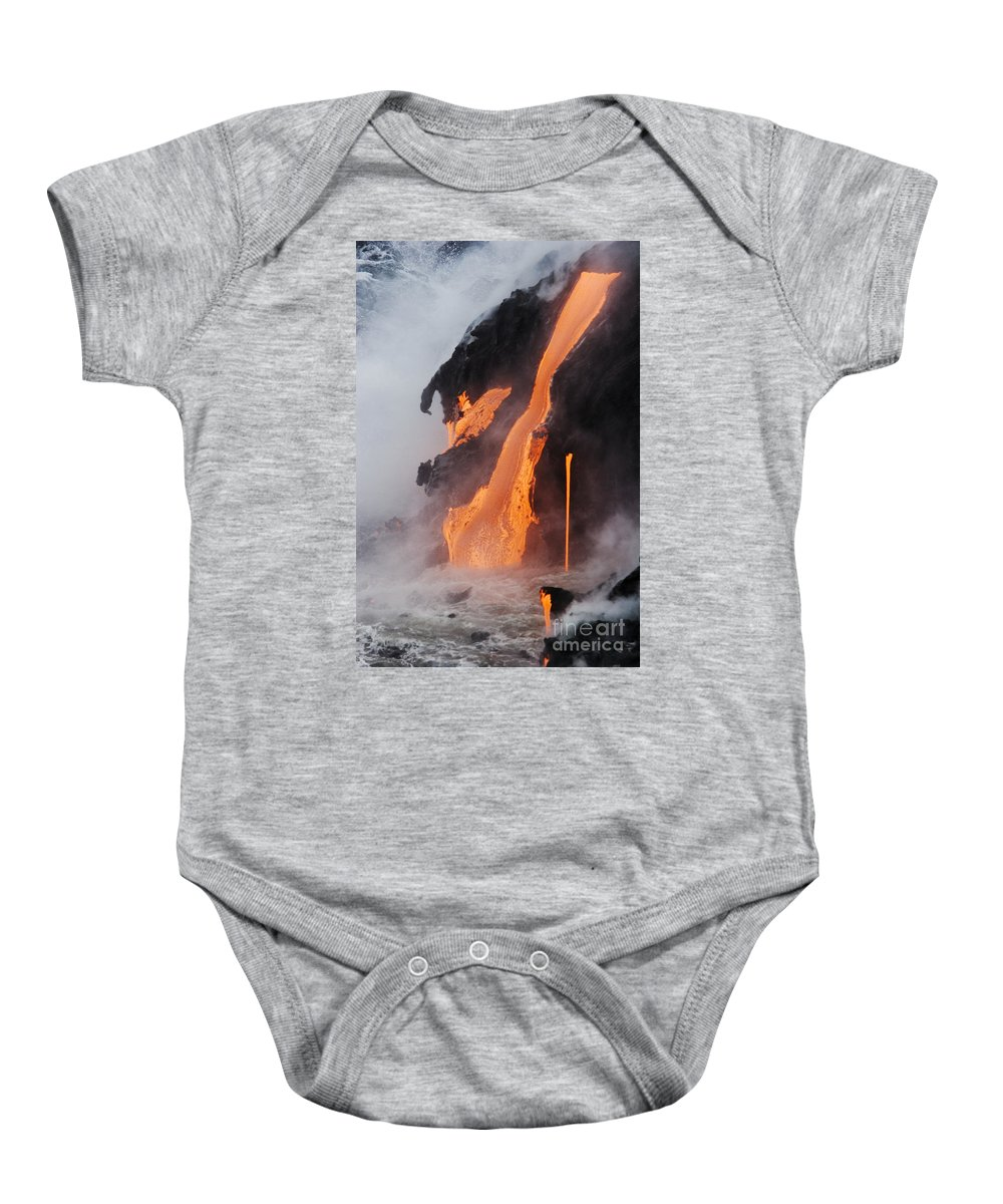 Active Baby Onesie featuring the photograph Pahoehoe Lava Flow by Ron Dahlquist - Printscapes