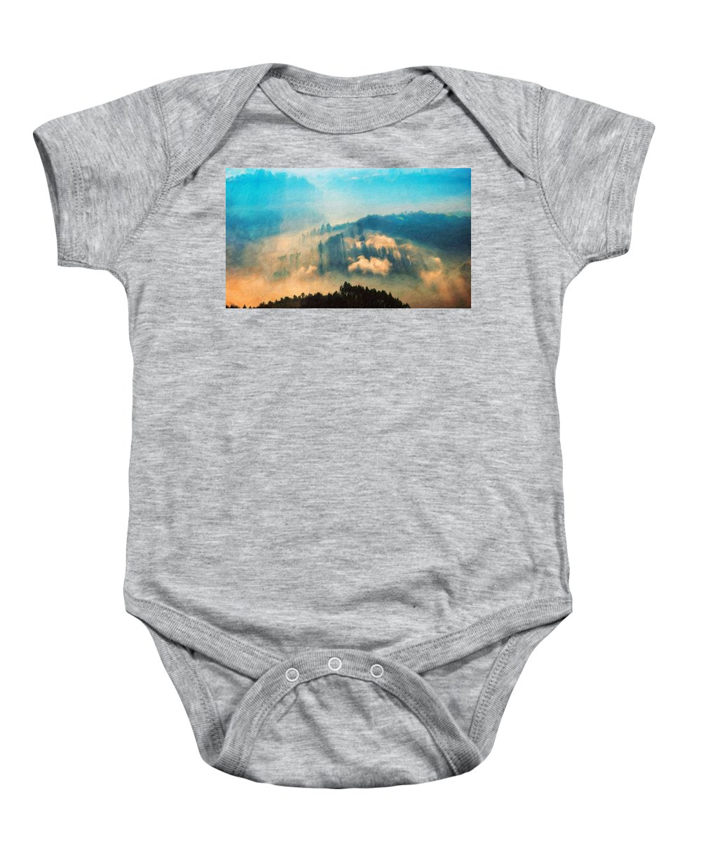 Landscape Baby Onesie featuring the painting Nature Landscape Illumination by World Map