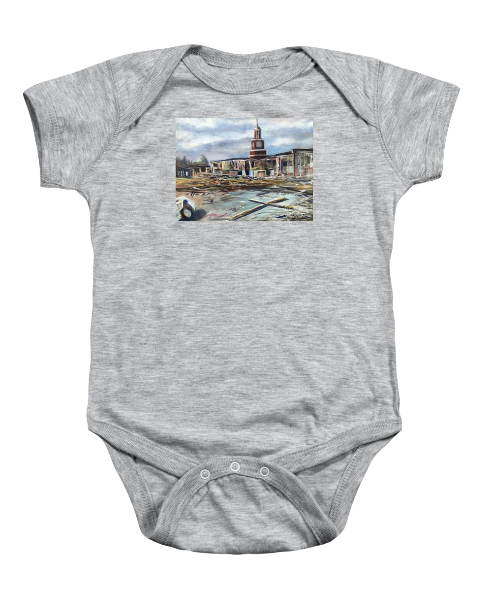 Jackson Baby Onesie featuring the painting Union University Jackson Tennessee 7 02 P M by Randy Burns