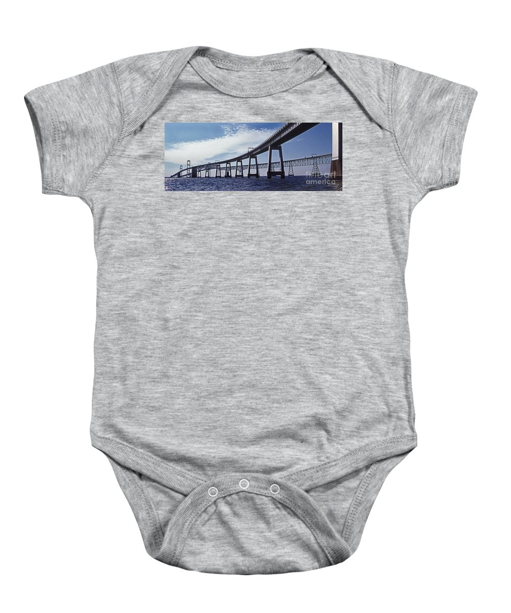 Maritime Baby Onesie featuring the photograph Chesapeake Bay Bridge by Skip Willits