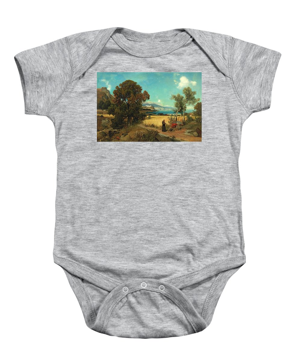 Ascan Lutteroth - Sicilian Scene Baby Onesie featuring the painting Sicilian Scene by MotionAge Designs