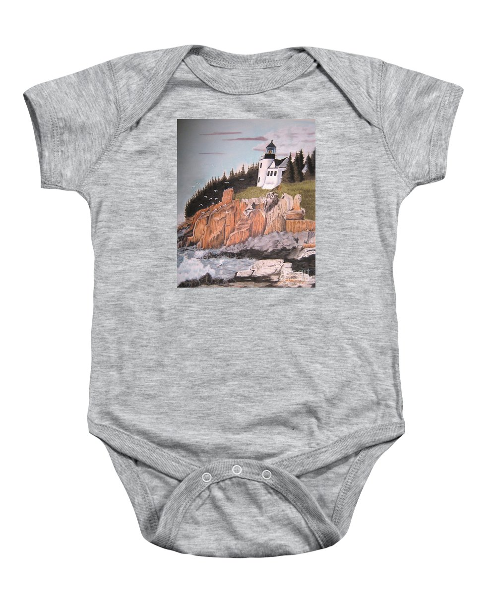 Light House Baby Onesie featuring the pastel Untitled by John Huntsman