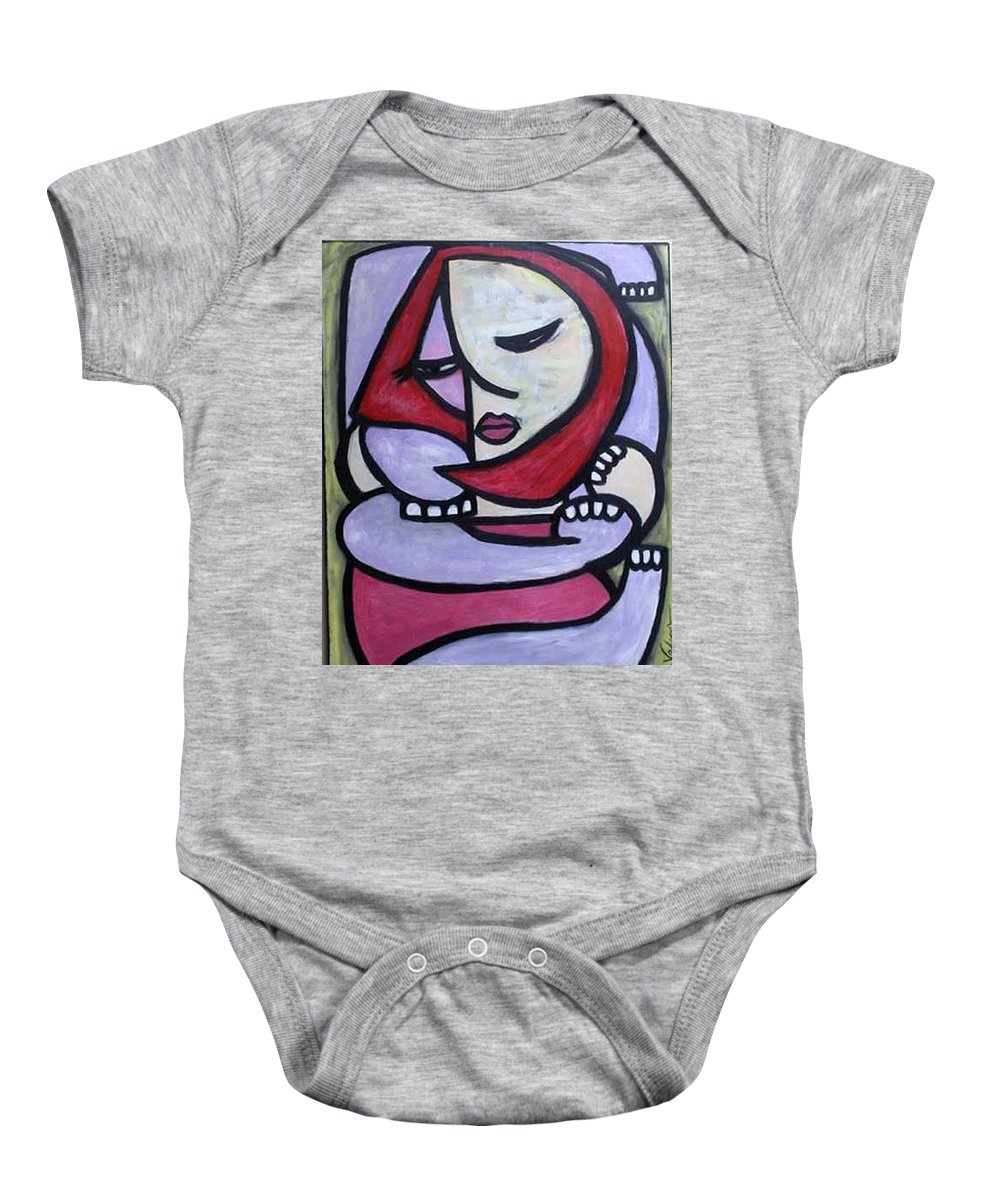 Abstact Baby Onesie featuring the painting Hugs by Thomas Valentine