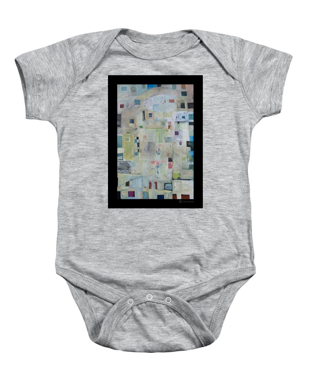 Abstract Baby Onesie featuring the painting 7am In The City That Doesn by Tim Nyberg