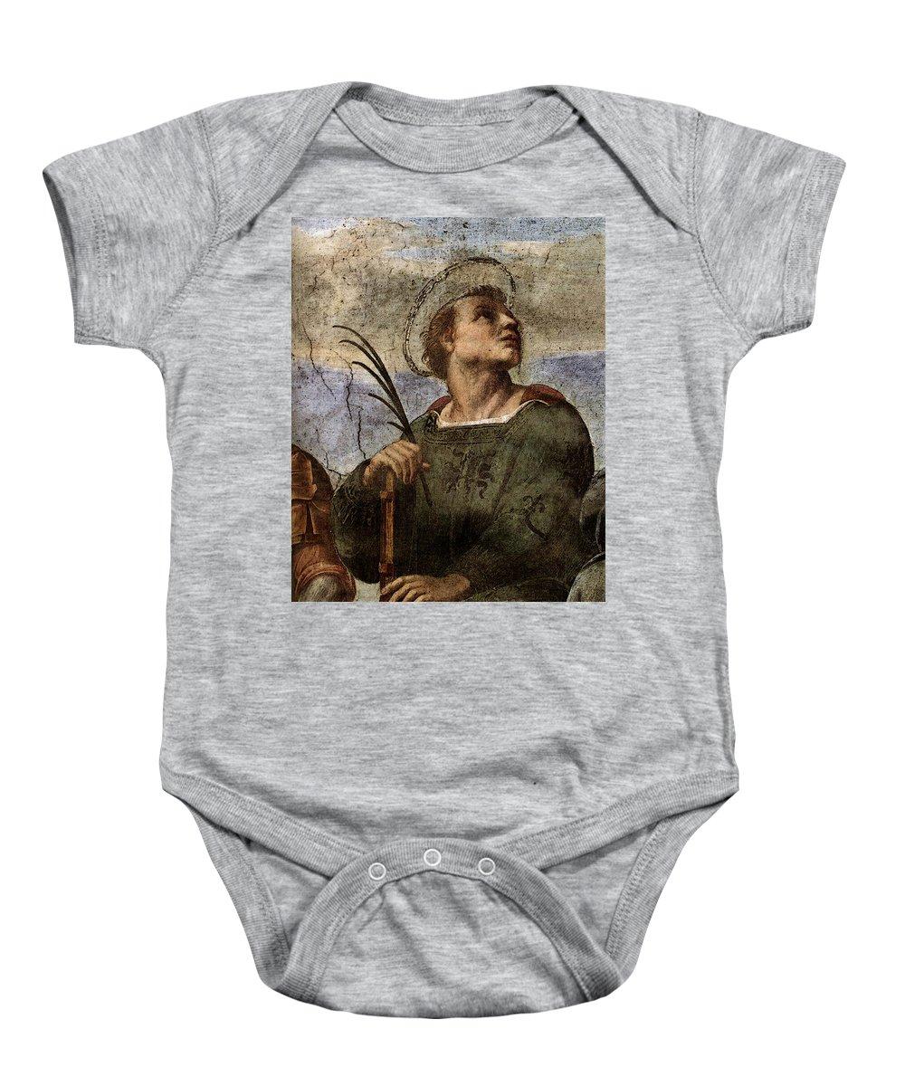 Raphael La Disputa Baby Onesie featuring the digital art Raphael La Disputa by PixBreak Art