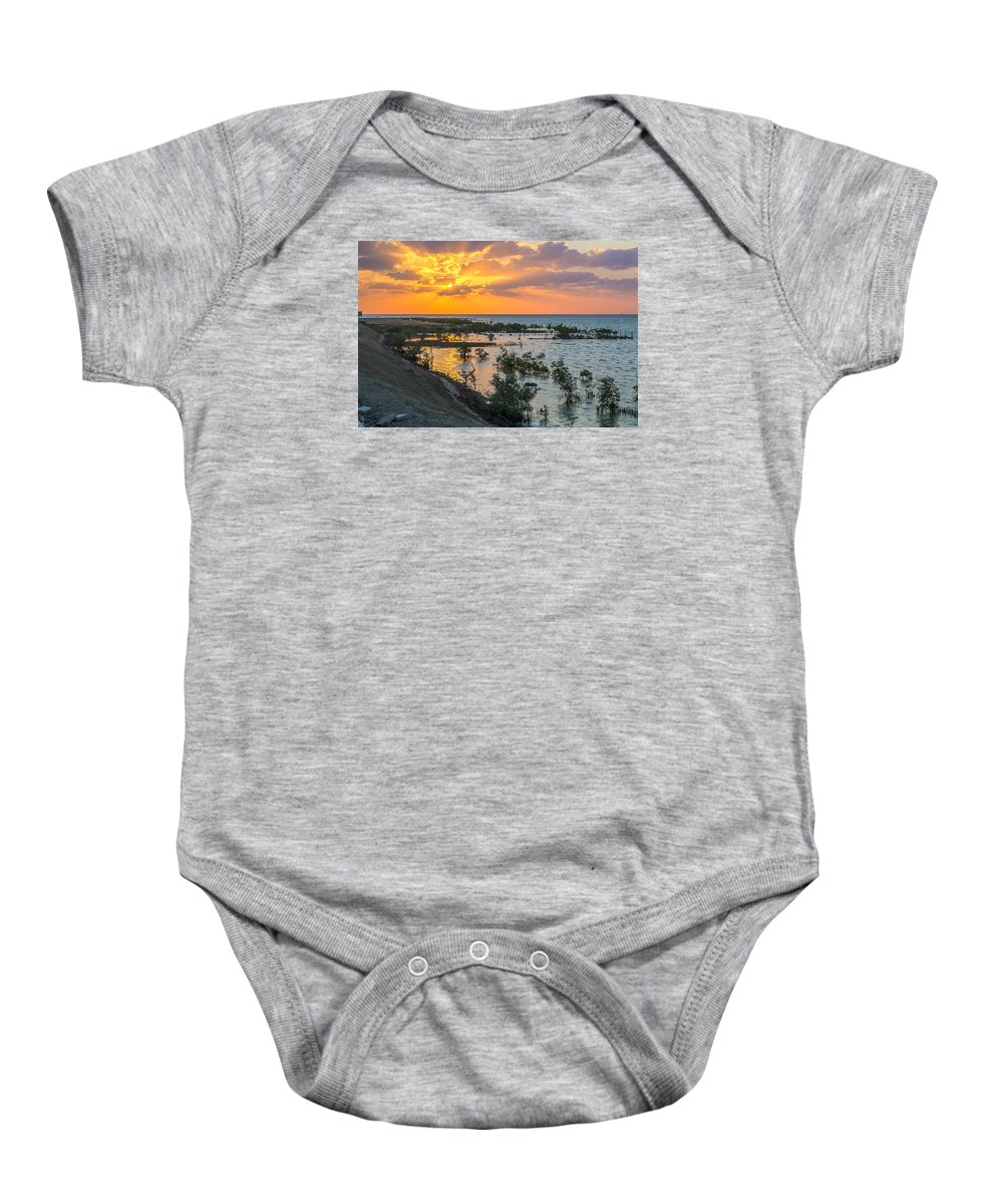 Hdr Baby Onesie featuring the photograph Red Sea Sunset by Lik Batonboot