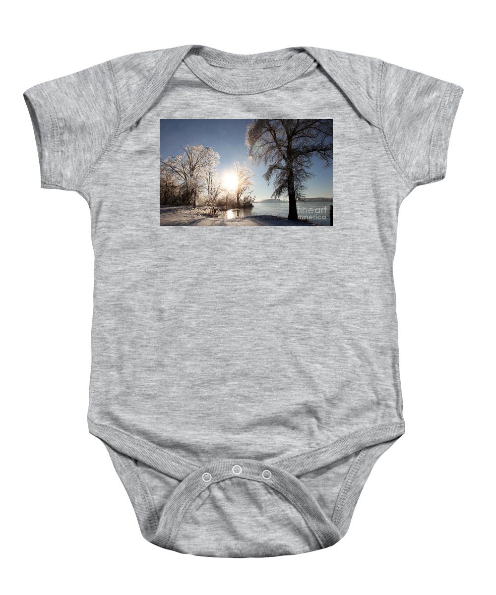 Tree Baby Onesie featuring the photograph Trees In Ice Series by Amanda Barcon