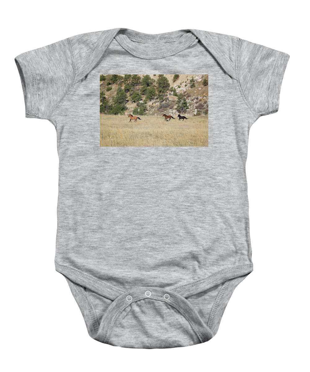 Mustangs Baby Onesie featuring the photograph 8216 by Genna Card