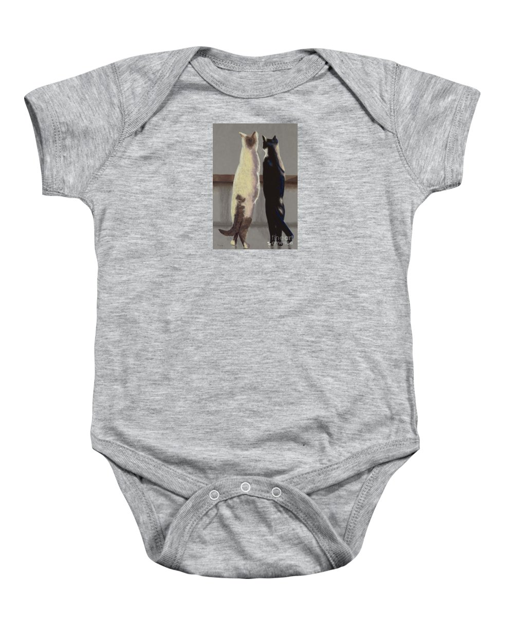 Cat Baby Onesie featuring the painting A Bird by Linda Hiller