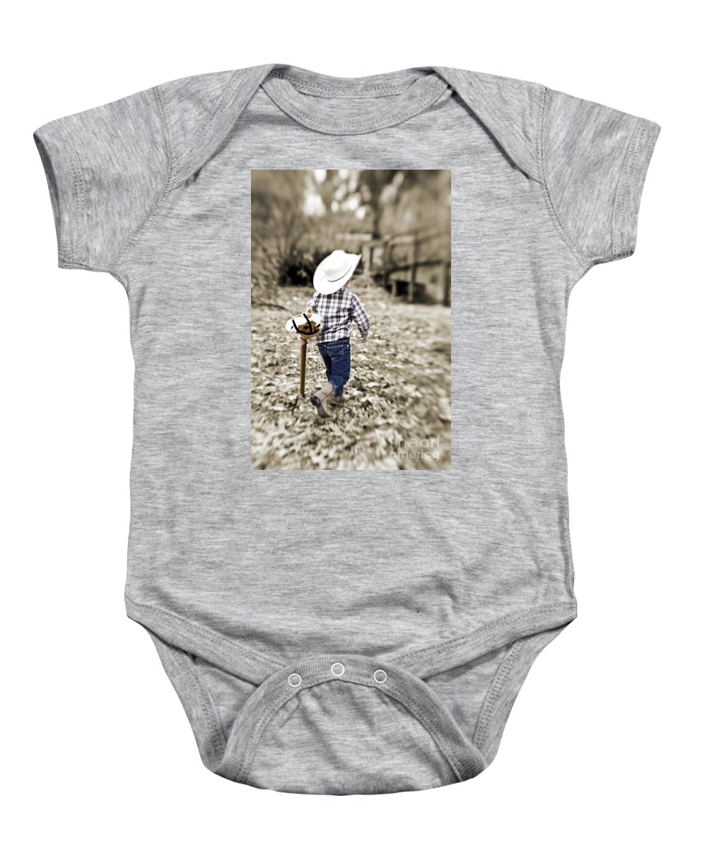 Boy Baby Onesie featuring the photograph A Boy And His Horse by Scott Pellegrin