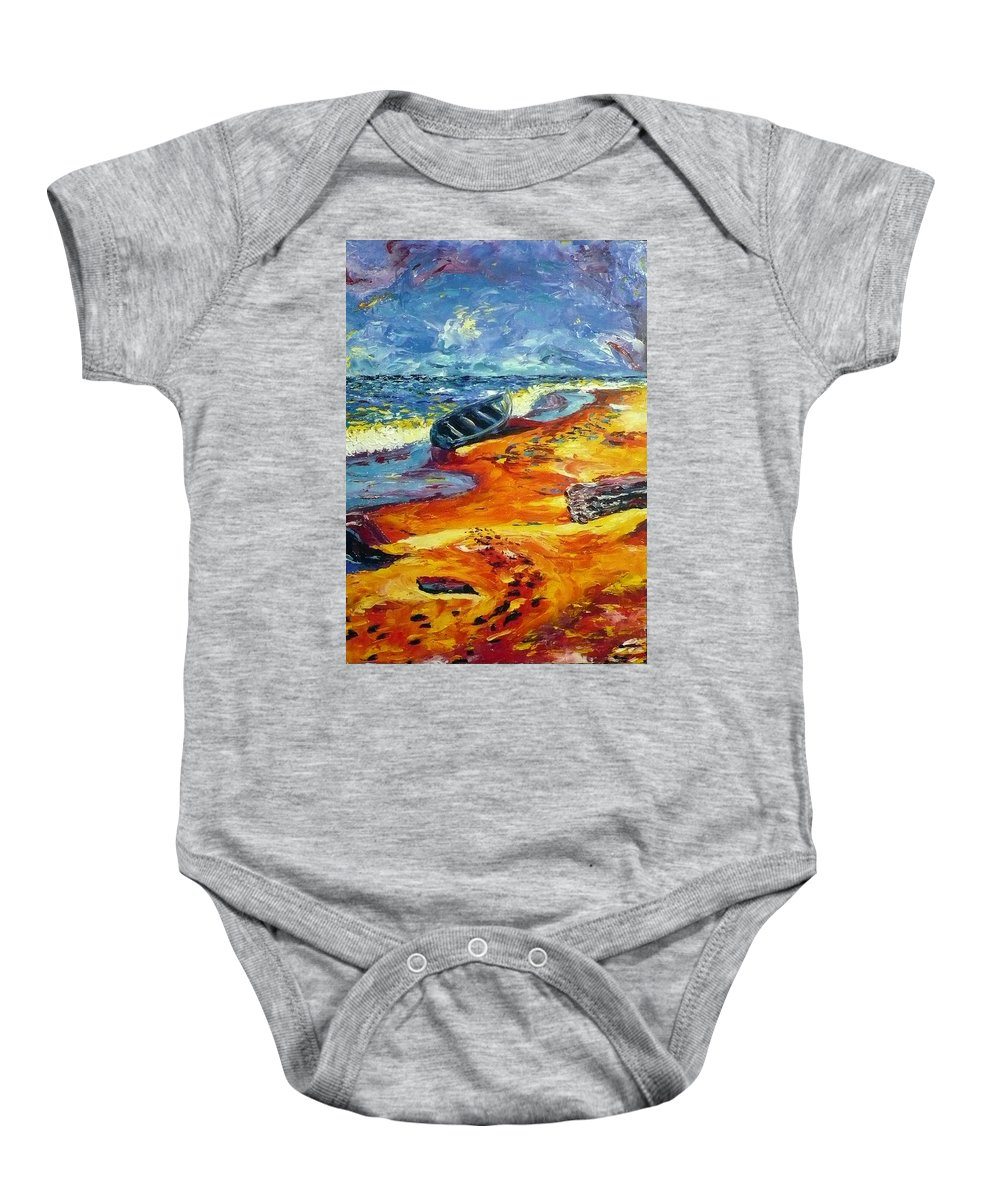 Landscape Baby Onesie featuring the painting A Canoe At The Beach by Ericka Herazo