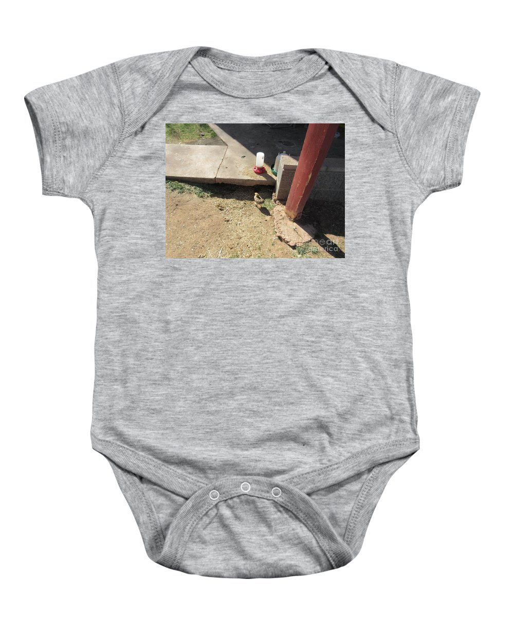 A Baby Onesie featuring the photograph A Chick by Frederick Holiday