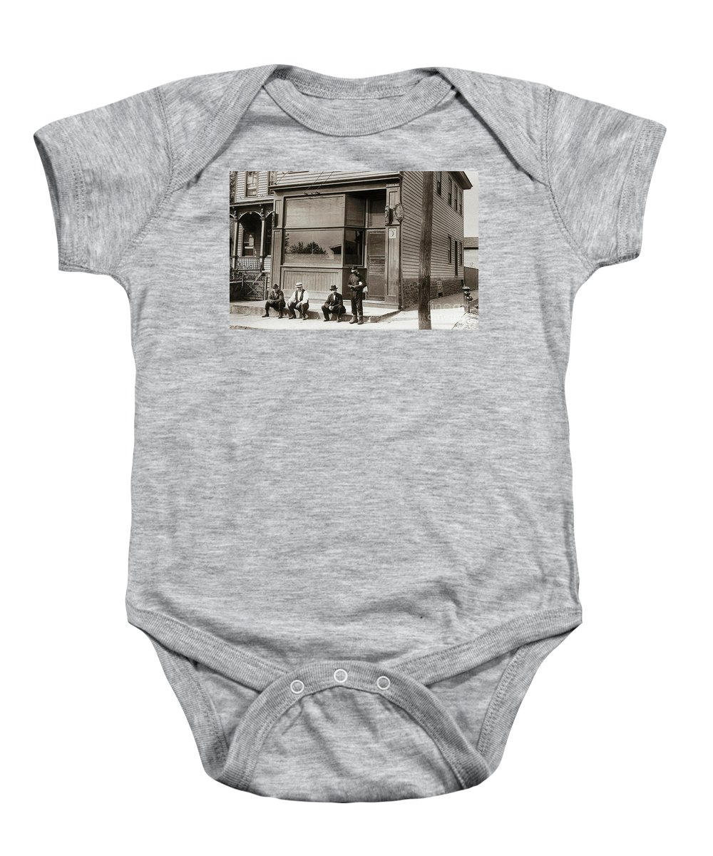 Bar Baby Onesie featuring the photograph A Coal Miners Bar George Ave Parsons Pennsylvania Early 1900s by Arthur Miller